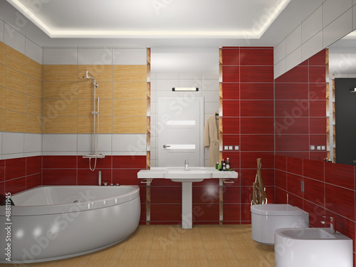 Modern interior of a bathroom 3D