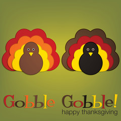 Felt turkey Thanksgiving card in vector format.