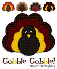 Plaid turkey stickers in vector format.