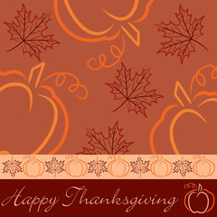 Hand drawn pumpkin and maple leaf Thanksgiving card in vector fo