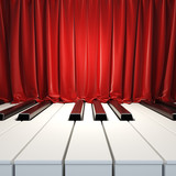 Fototapety Piano Keys and red curtains.