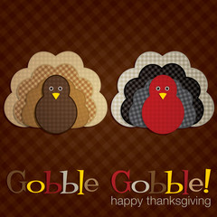 Plaid turkey Thanksgiving card in vector format.