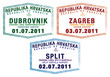 Passport stamps from Croatia