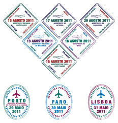 Portuguese and Spanish Passport stamps