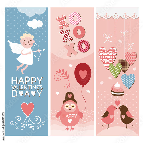 Set of Valentine's Day vertical banners