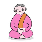hand-drawn cartoon buddhist nun