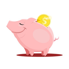 Piggy bank with a coin