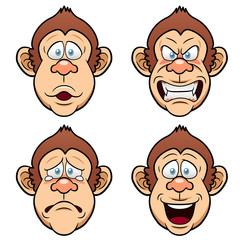 Illustration of Cartoon Face Monkeys