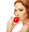 Model with tomato