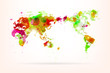 Vector World Map Creative with Splash of Color and Light Effects
