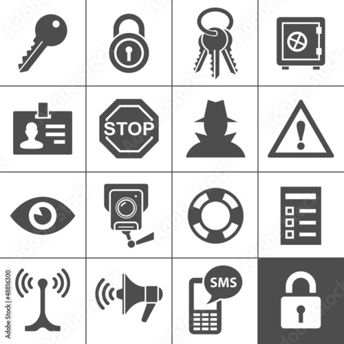 Security and warning icons. Simplus series