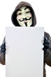 Anonymous mit leerem Schild