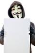 Anonymous mit leerem Schild
