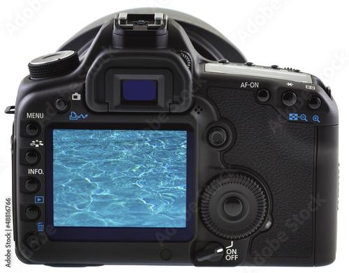 piscine sur écran appareil photo reflex numérique