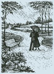 Vector landscape. Young couple with umbrella walking through par