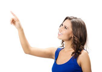 Woman pointing or pressing virtual button
