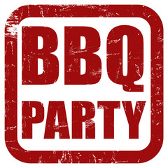 Grunge Stempel rot BBQ PARTY