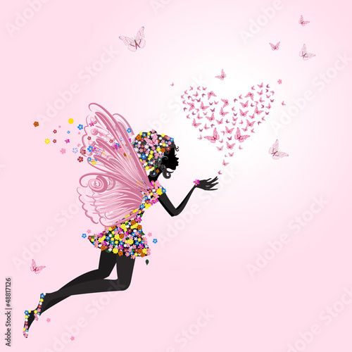 Fairy with a valentine of butterflies - 48817126