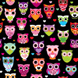 Fototapety Seamless retro owl colorful kids background pattern in vector