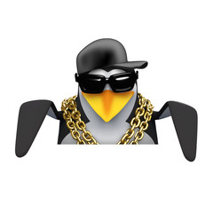 Penguin rapper looks down over blank space