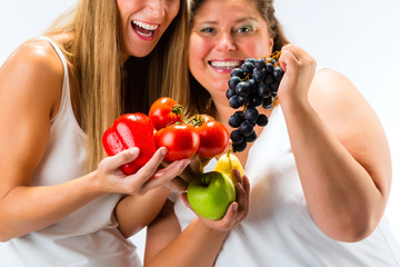 Healthy eating - women, fruits and vegetables
