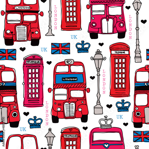 Seamless love London UK red travel icon background pattern - 48817500