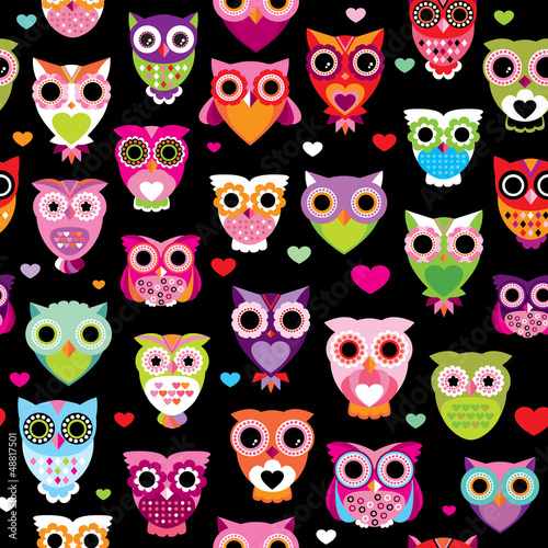 Seamless retro owl colorful kids background pattern in vector - 48817501