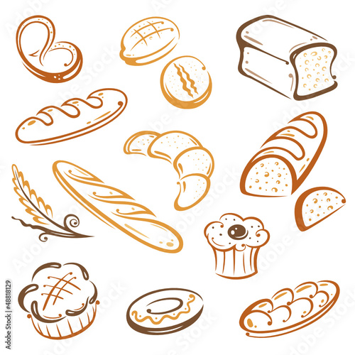 Backwaren, Bäcker, Bäckerei, Brot, vector set