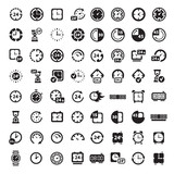 big black clock icons set