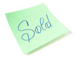 Sold  handwritten message on sticker