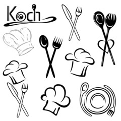 Koch, Kochmütze, Kochen, Kochlöffel, vector set