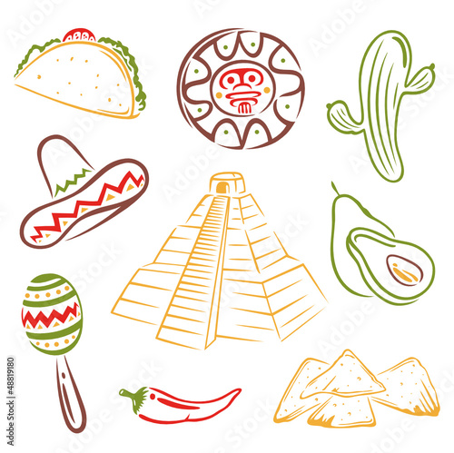 Mexico, Mexiko, Maya, design elements, vector set