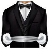 Butler torso dressed in tux poster