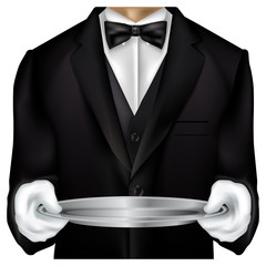 Butler torso dressed in tux