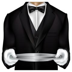 Butler torso dressed in tux