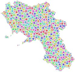 Map of Campania - Italy - in a mosaic of harlequin bubbles