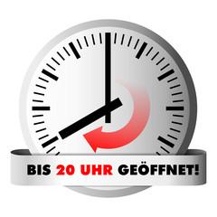 Uhr zeigt Öffnungszeit 20 Uhr