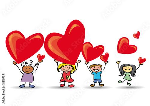 Enfants Saint Valentin - Coeur