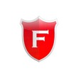 Secure shield letter F.