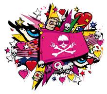 Crossbones czaszka flaga różowy graffiti, street art walentynkowy flag