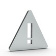 3d Icon Ausrufezeichen silber