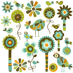 whimsy flowers & birds