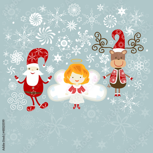 santa, angel and reindeer