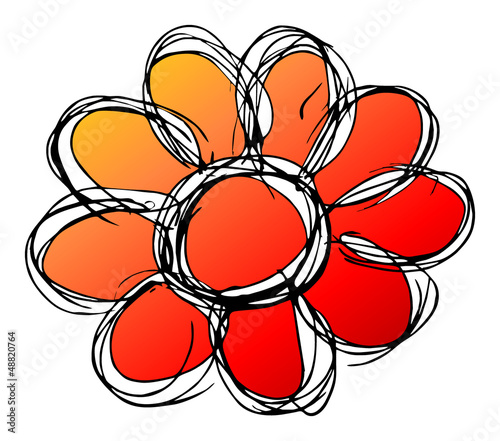 Tuinposter Abstract bloemen Blume, rot-gelb