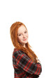 portrait girl with long red hair on white background