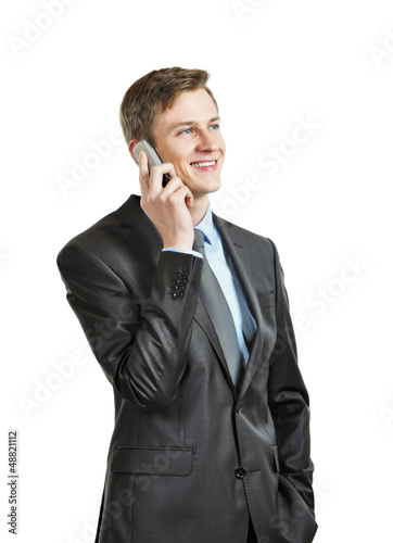successful businessman with phone