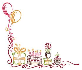 Geburtstag, Torte, Geschenke, birthday, Ranke