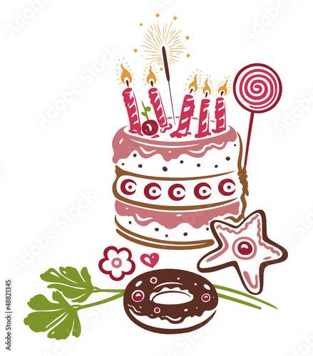 Geburtstag, Torte, Kuchen, birthday, vector