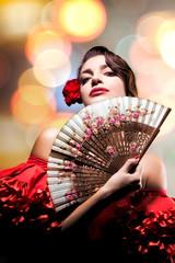 Fashion Art Portrait Of Beautiful Girl. Andalusian Style Woman