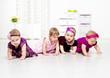 Toddler girls crawling
